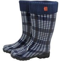 Detroit Tigers Ladies Navy Blue Plaid Cuffed Rain Boots