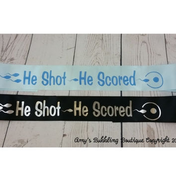 Daddy to be Baby Shower Sash - Funny Sash for dad to be to wear with Sperm He Shot He Scores to Baby Sprinkle, Comes with Rhinestone Pin