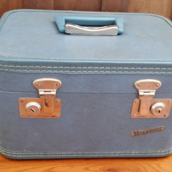 Vintage Blue Monarch Train Case Cosmetics Case Luggage Mid Century Hardside Suit Case Great Retro Travel Style Decor Day Trip