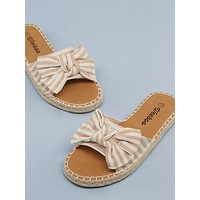 Bow Accent Open Toe Canvas Slide Sandals