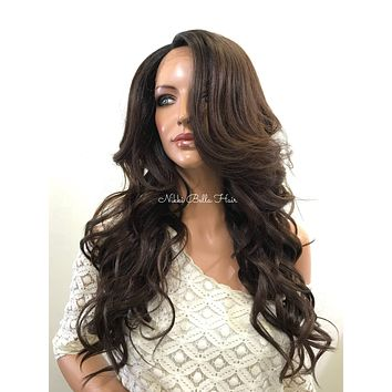 Brunette Curly Human Hair Blend Deep Parting Lace Front Wig -  Leann 61017 9