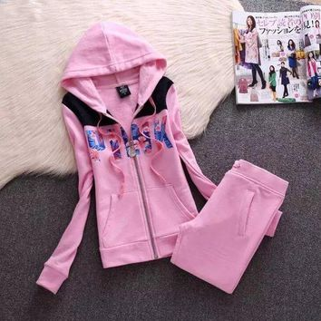Victoria's Secret PINK Letter Print Women Trending Sweater Casual Sportswear Two Piece Set Pink I