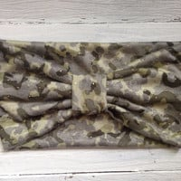 Camo Headband Fabric Wrap Gold Motorcycle Women's Hairband