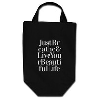 Just Breathe Inspirational Sayings Black White Grocery Tote Bag