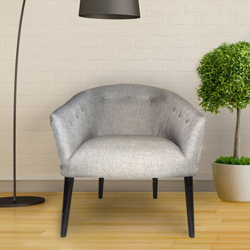 Furnistars Gray Tufted Fabric Club Chair