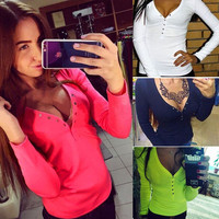Autumn fashion plus size V neck women t shirt punk Long sleeve cropped sexy top tees women camisetas femininas