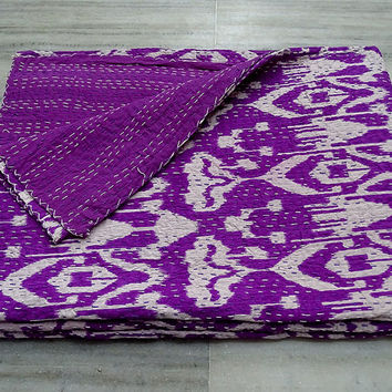 Twin Purple iKat Kantha Quilt, Indian Handmade Quilt Kantha Bedspread Blanket, Cotton Ralli Gudri Reversible Coverlet Quilt  Vintage Decor