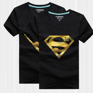 The new summer half sleeve cartoon Superman bronzing close friend couples dress men short sleeve cotton T-shirt class service = 1946670724