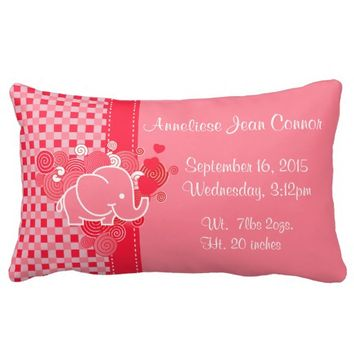 Red and Pink Plaid with Elephant Birth Pillow