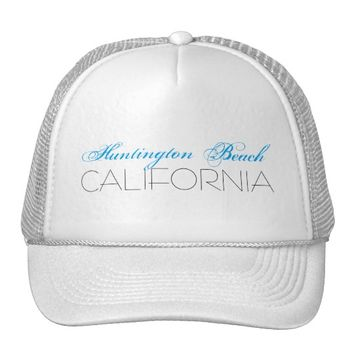 Huntington Beach, CALIFORNIA Blue and Black Trucker Hat