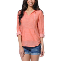Empyre Girls Alta Coral Woven Hooded Shirt at Zumiez : PDP