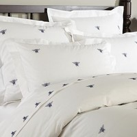 Bee Embroidered Duvet Cover & Sham - Twilight Blue | Pottery Barn