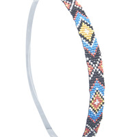 Tribal Pattern Beaded Headwrap | Wet Seal