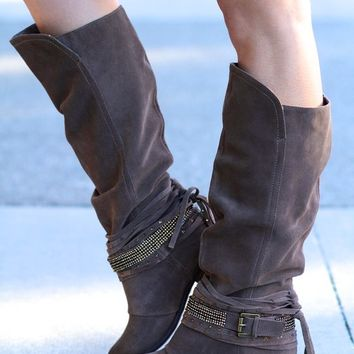 I'm A Lone Rider Suede Leather Bling Boots (Taupe)