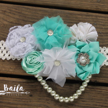 Pregnancy sash, Maternity photo prop, baby shower corsage, baby shower sash, gender neutral sash, aqua belly sash, pregnancy photos, reveal