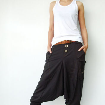 NO.95    Charcoal Cotton Jersey Casual Harem Pants Unique Pockets Drop-Crotch Trousers
