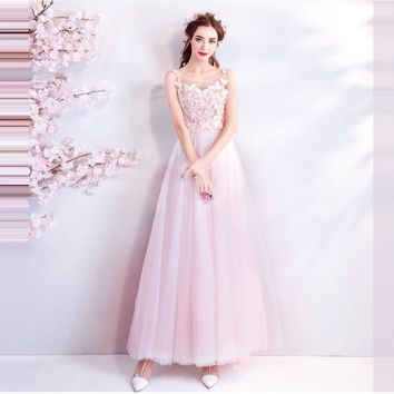 Pink Evening Dresses O-Neck Sleeveless Butterfly Embroidery Elegant Formal Dress for Party