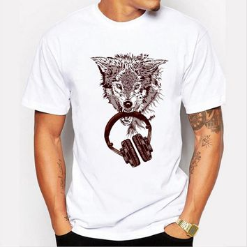 Fashion Men 's Casual T - shirt 3D personality wolf prints pattern loose white  short - sleeved round neck men' s tt-shirt