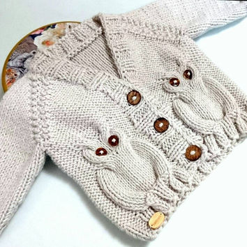 Owl Baby sweater, baby boy coming home outfit, owl baby shower, gender neutral baby, newborn sweater, baby cardigan, baby owl, eco baby