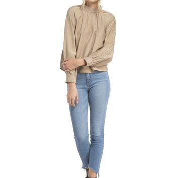 Twill Mock Neck Top