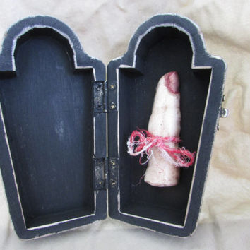 Tombstone Halloween Gothic Spooky Wedding ring Box with Severed finger