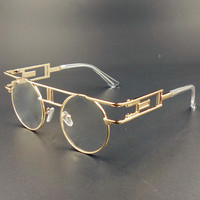 Steampunk Sunglasses Clear Lens Glasses Eyewear Frame Gothic Flat Top Vintage Round Glasses Men Women Luxury Brand Sunglasses