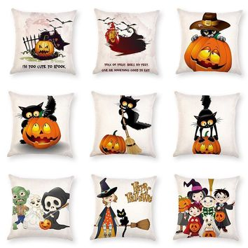 Creative Halloween Pumpkin Cat Cushion Cover Linen Cute Cartoon Cat Printing Decorative Pillowcase Throw Pillow Cover kussenhoes