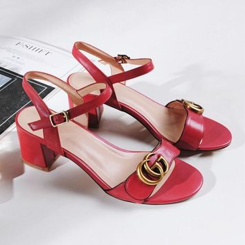 Gucci Fashion Red Army Green Stripe Summer Women Open-Toed Contracted Heel-Strap Sandals Black-2
