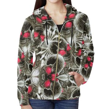 Red Eye Skulls Women's All Over Print Full Zip Hoodie