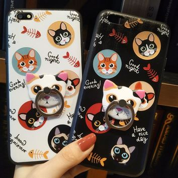 Ultra Thin Soft Frame+Hard Back Cover for OPPO A71 Couque Fundas Cartoon Cat Painted Ring Stand Cases for Oppo A71 Phone Bags