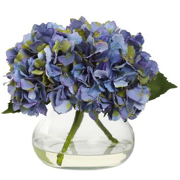 Artificial Flowers -Blooming Hydrangea With Vase No2 Silk Plant