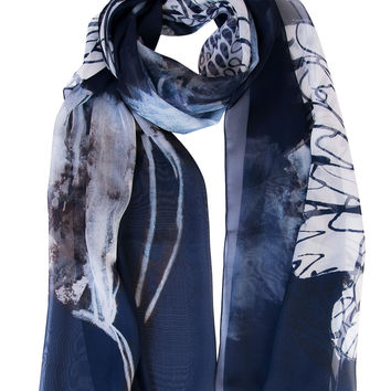 Angelina-Silk Chiffon Wrap-Navy Blue