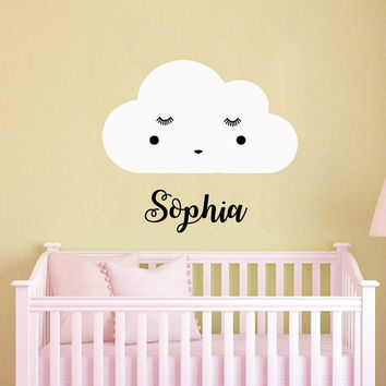 Name Wall Decal Girl Personalized Name Stickers Cloud Vinyl Decals Art Mural Home Decor Art Interior Design Baby Bedroom Nursery Decor KY131
