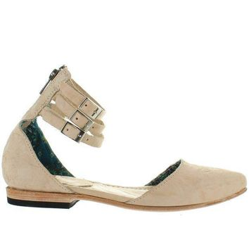 Freebird Eden   Natural Distressed Leather Triple Buckle Ankle Strap Flat