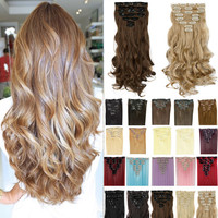17inch 170g Curly Clip On Natural Hair Synthetic Hair Styling Clip in Hair Extensions (8 Piece).