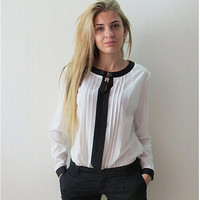 Casual Long Sleeve Color Block Pleated Blouse