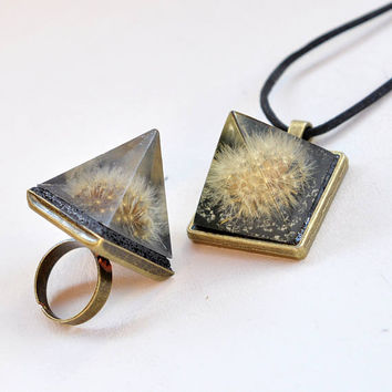 A RING & A NECKLACE SETS - Real Dandelion Seeds, Resin Art, Handmade, Copper, Pyramid