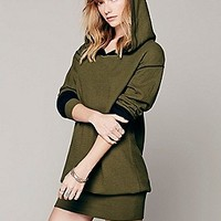 Free People Womens Solid Hoodie Pullover -