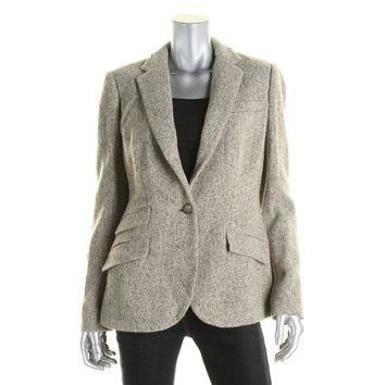 Lauren Ralph Lauren Womens Wool Notch Lapel One-Button Blazer