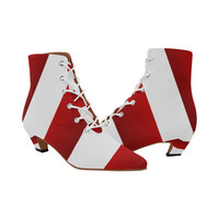 Red White Stripes Women's Pointed Toe Low Heel Booties (Model 052) | ID: D2317510
