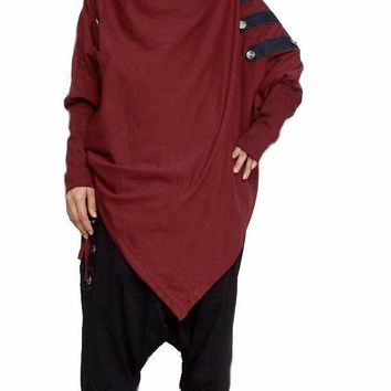 Asymmetrical Tunic Poncho Long Sleeve,EMO Punk Sweater Top, Red Maroon Cotton Blend (PH-01)