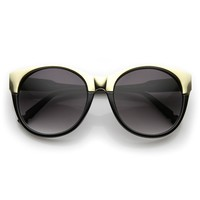 Womens Oversized Pointed Gold 2-Tone Cat Eye Sunglasses