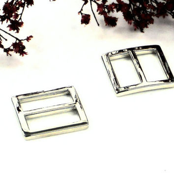 "2pcs Silver Nickel 3/4"" Purse Slides - 2 Small Strap Adjustors, Purse Hardware Bag Making Supplies at MeiMei Supplies from USA"