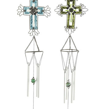 Heavenly Glass Metal Wind Chime 2 Assorted