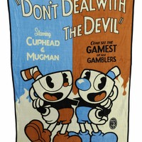 Official Cuphead 'Don't Deal with The Devil Plush Soft Fleece Travel/Camping/Cozy, Blanket/Throw Compact Sized 45 x 60 inches Gifts - Blankets/Throws
