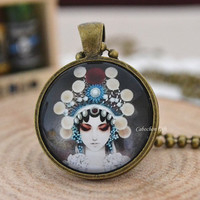 Beijing Opera Opera necklace, Costumes of Chinese Opera necklace,female role in Chinese opera Cabochon pendant necklace (N19)