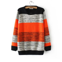 Winter Stripes Sweater Slim Round-neck Long Sleeve Knit Tops Jacket [9176522436]