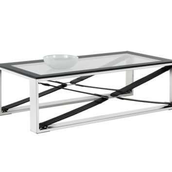 MAVI POLISHED STAINLESS STEEL-BLACK LEATHER FRAME WITH TEMPERED GLASS TOP COFFEE TABLE