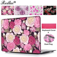 For Apple Macbook Air 13 Cover Floral Print Plastic Hard Case For Mac book Pro 13 15 Retina Laptop Case+Keyboard Cover+Dust Plug