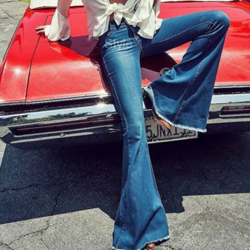Fashion Sexy Show Thin Deckle Edge Bell-Bottom Trousers Casual Cowboy Pants